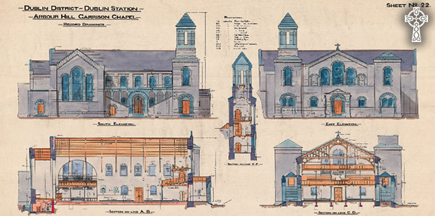 Royal Engineer Corps drawings for Arbour Hill Garrison Church