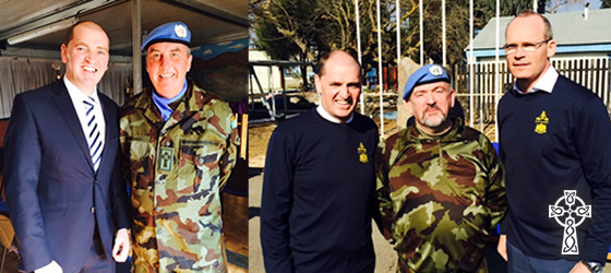 Fr Dave Tyndall UNIFIL with Minister Paul Kehoe and Fr Bernard McCay-Morrissey with Ministers Kehoe and Simon Coveney December 2015.