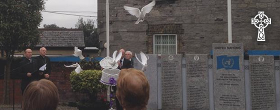 Doves are released following prayers for all Irish men and women serving with the United Nations.