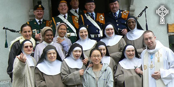 A musical visit to the Sisters' Enclosure May 2008. Sr Thérèse-Marie is front right.