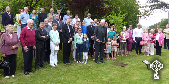 Tree planting ceremony before Mass